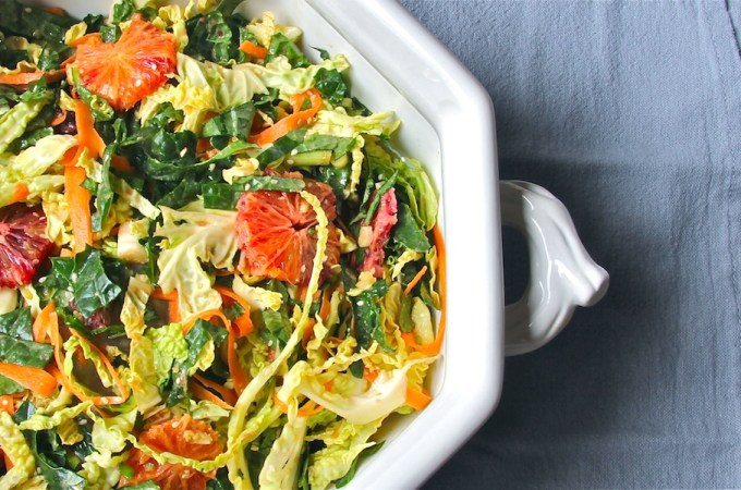 winter salad of kale, cabbage, blood oranges with tahini miso ginger dressing