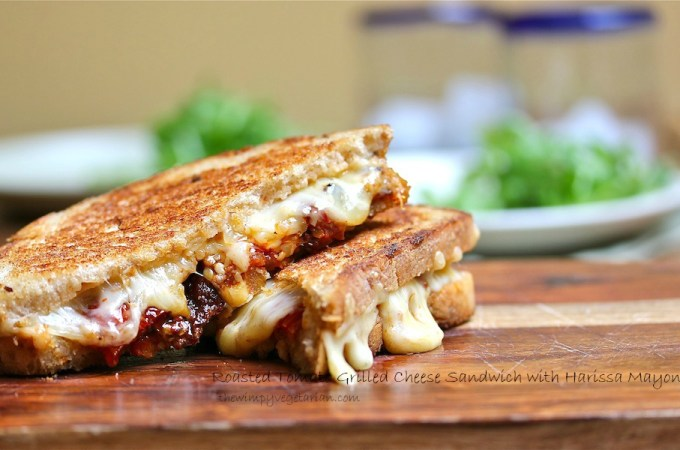 Roasted Tomato Grilled Cheese Sandwich with Harissa Mayonnaise
