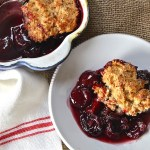 cherry brandy cobbler with coconut biscuit, easy entertaining, summer dessert