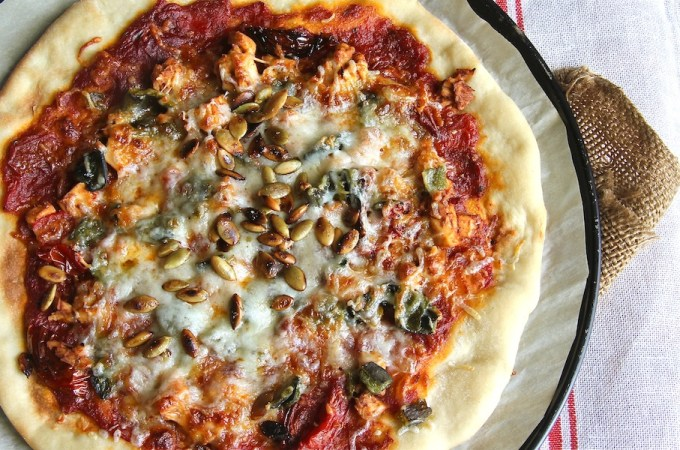 BBQ Chicken Pizza + Poblanos: #SundaySupper