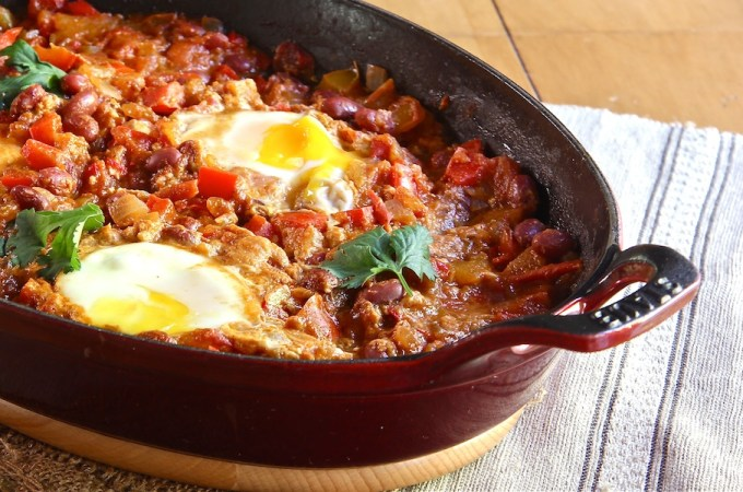 Moroccan Vegetarian Chili with Poached Eggs