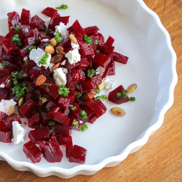 Pickled Beet Salad with chive oil, vegetarian entree