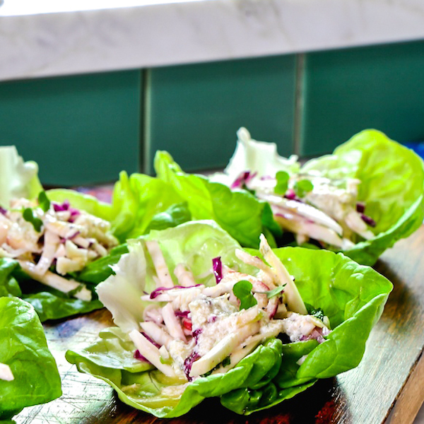 Lettuce Wraps with Celery Root and Beluga Lentils.