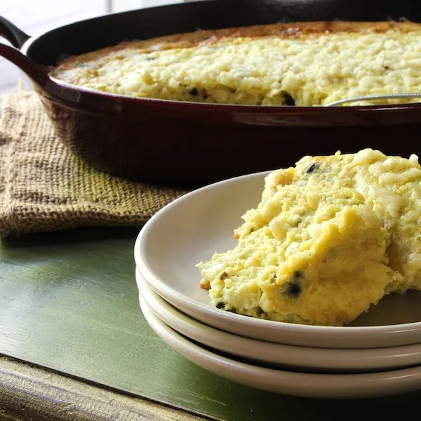 skillet baked corn pudding with black beans