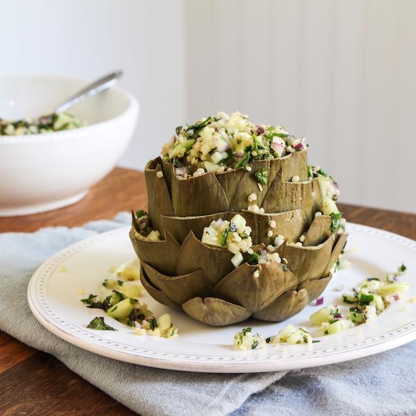 Quinoa tabbouleh, tabouli, stuffed artichokes.