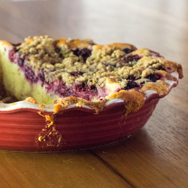 Rustic blackberry cornbread buckle, easy summer cake recipe