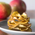Dried apple rings dusted with curry powder.