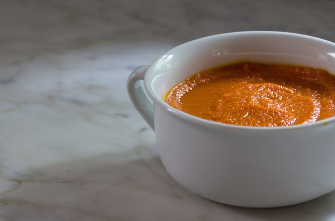 Vegan Ginger-Carrot Soup with coconut milk.