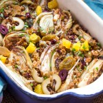 Lemon roasted fennel with breadcrumbs, olives, oranges, and raisins