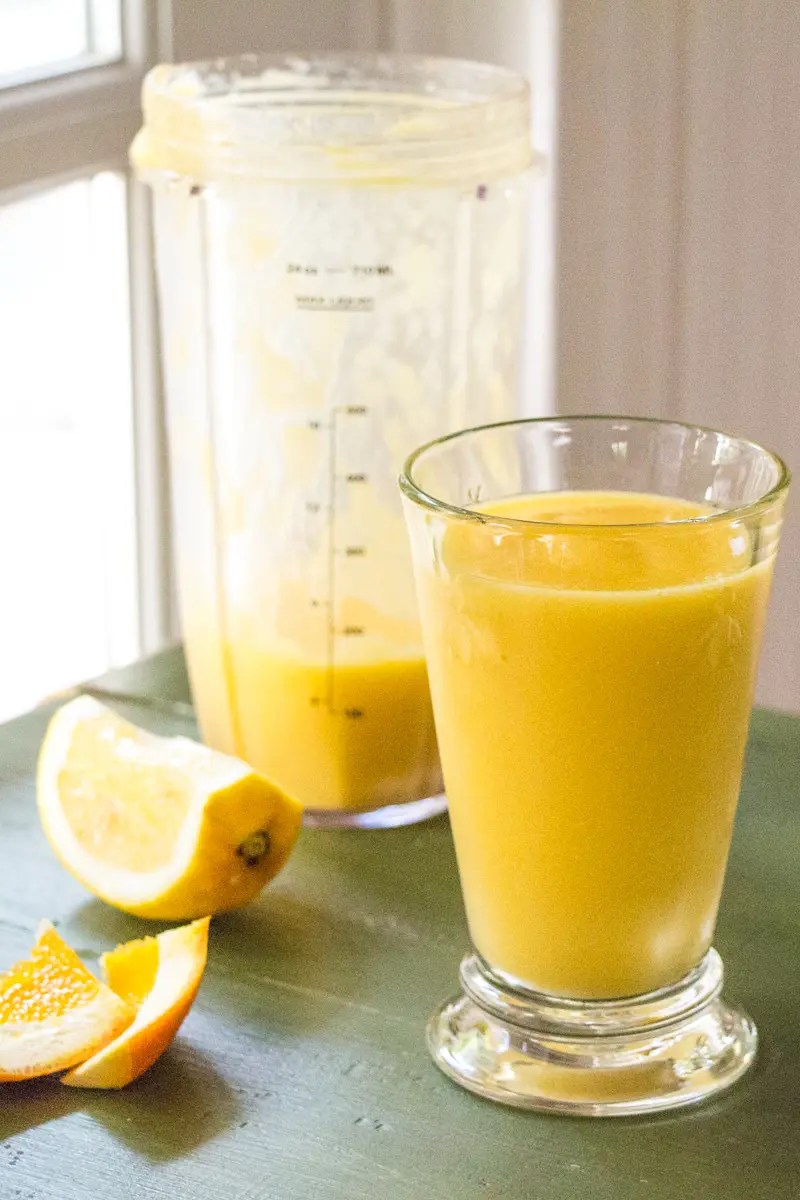 Orange Mango Smoothie with Ginger and Lime for a healthy breakfast!