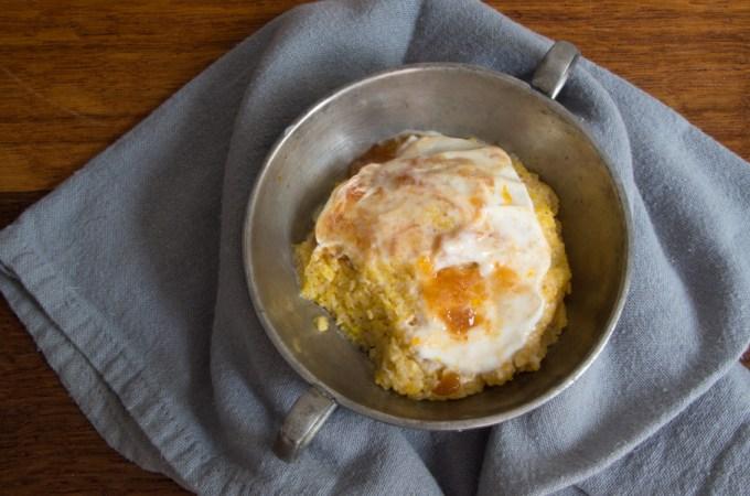 Polenta Cake with Yogurt and Peaches
