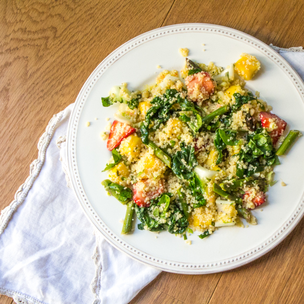 Baby Bok Choy Couscous with Mangoes and Strawberries