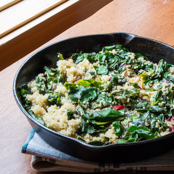 Easy Swiss chard recipe with lemon, quinoa, capers and olives