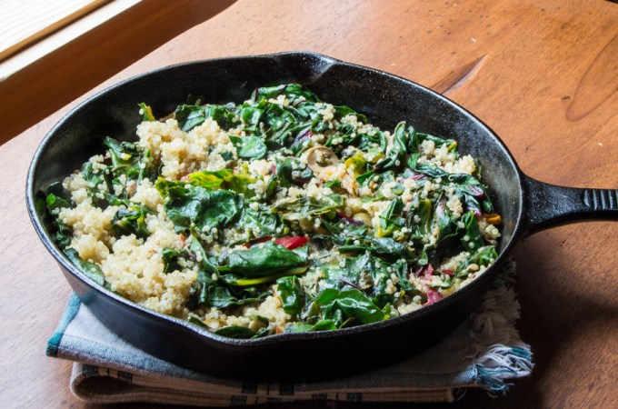 Lemony Swiss Chard and Quinoa Saute with Fried Capers and Olives
