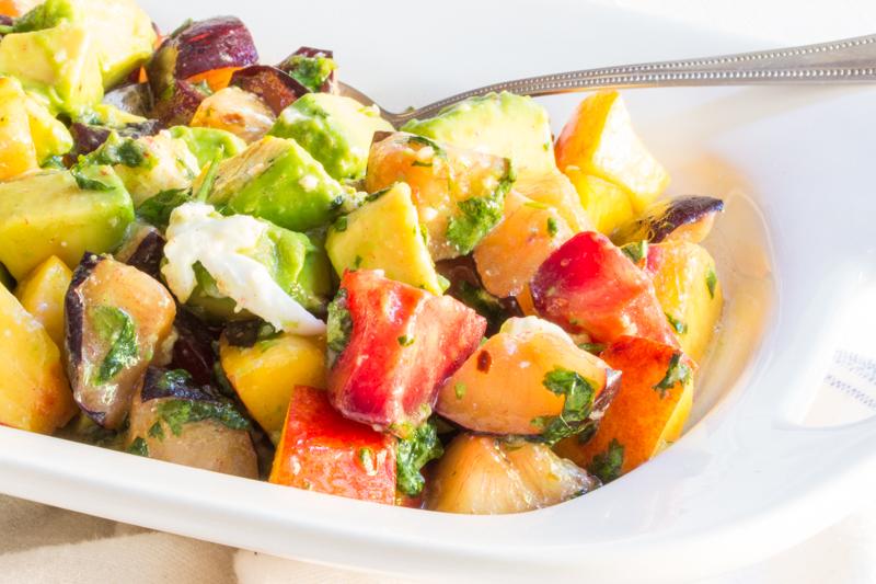 Plum Salad with Avocado and Mozzarella
