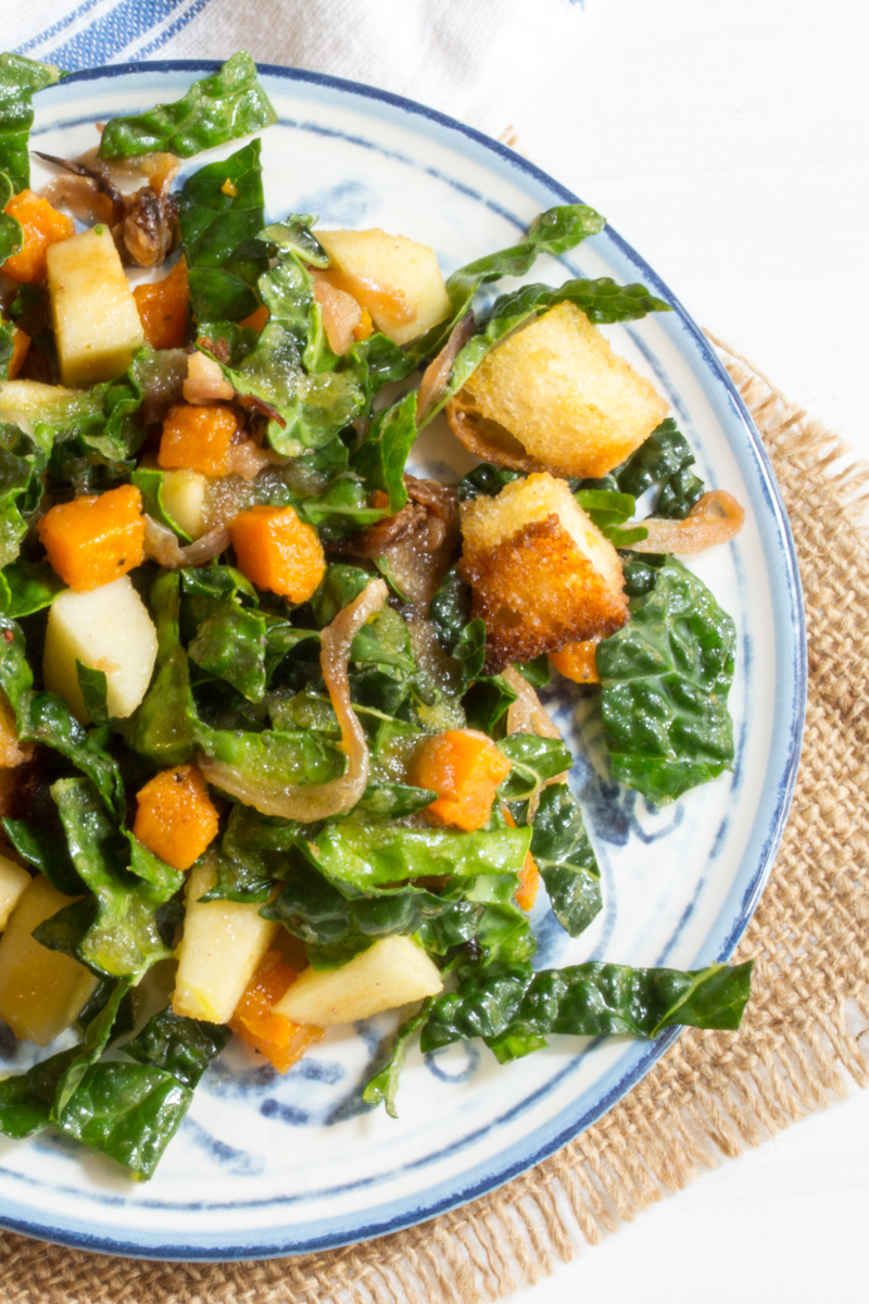 Butternut Squash-Apple-Kale Panzanella