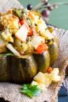 Spiced Acorn Squash with Poblano Cornbread Stuffing