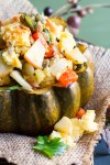 Spiced Acorn Squash with Poblano Cornbread Stuffing
