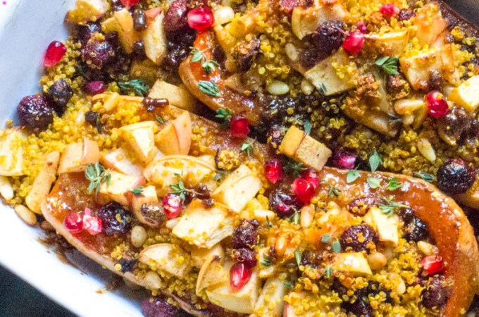 Fig Basted Roast Butternut Squash with Quinoa, Apple, and Fig Stuffing