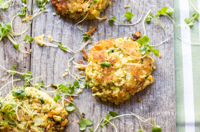 Zucchini Fritters with Quinoa, Potatoes and Feta Cheese