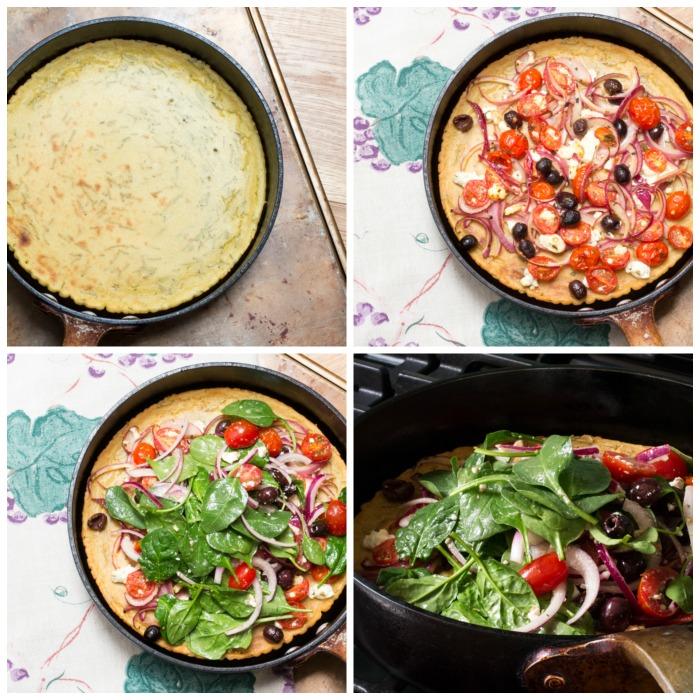 Socca Pizza with Greek Salad process shots
