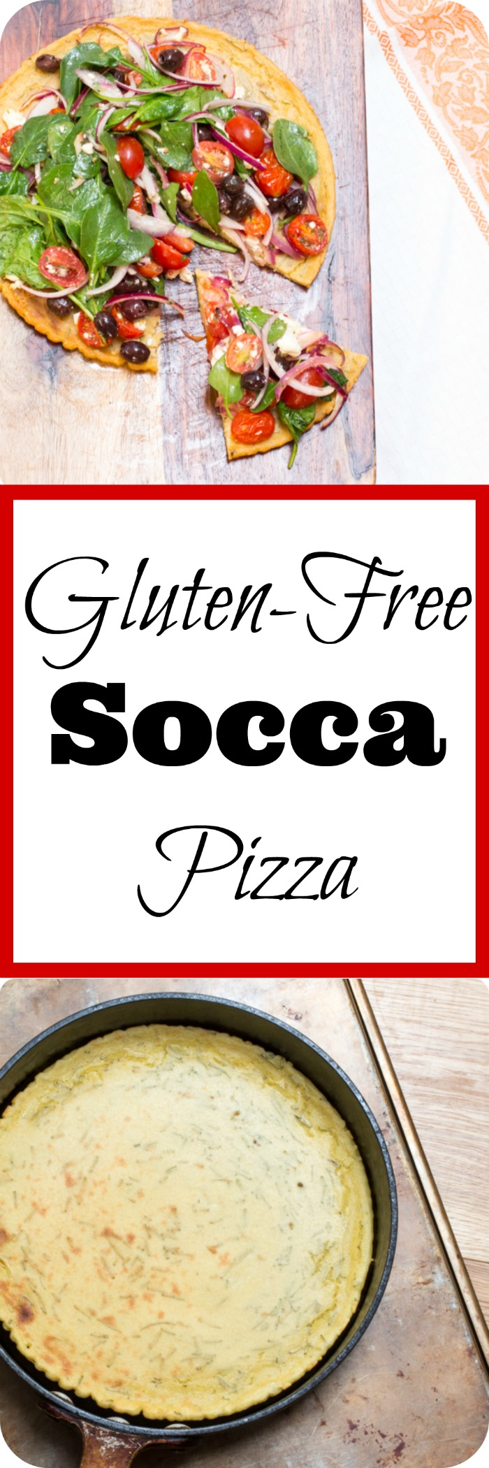 Gluten-free socca pizza made from chickpea flour, and topped with a Greek salad.