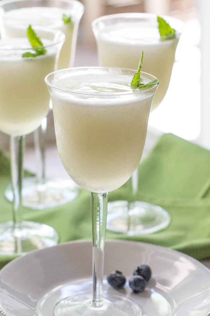 Sgroppino (Italian dessert cocktail) with lemon sorbet, Prosecco, and vodka.