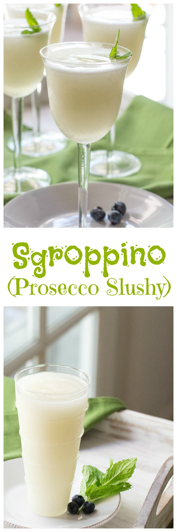 Sgroppino - a frothy Italian dessert cocktail of sorbet, Prosecco, and vodka.