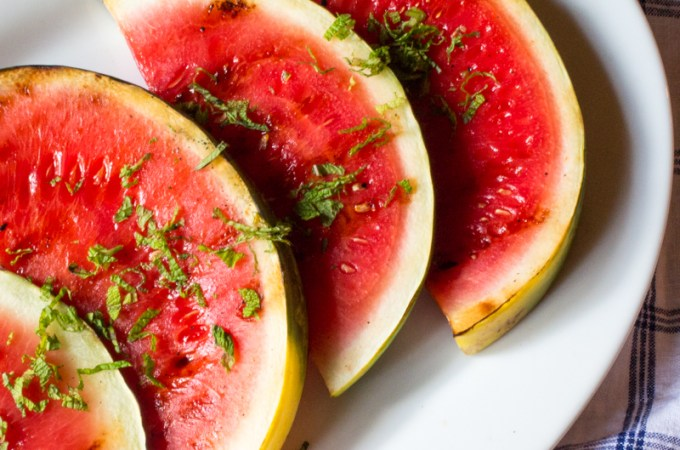 Grilled Watermelon with Lime and Mint