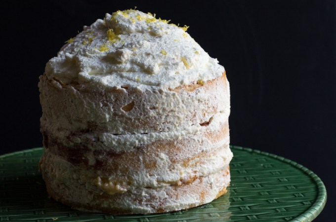 Danish layer cake of sponge cake layered with apricot and raspberry jams and custard,all topped off with whipped cream.