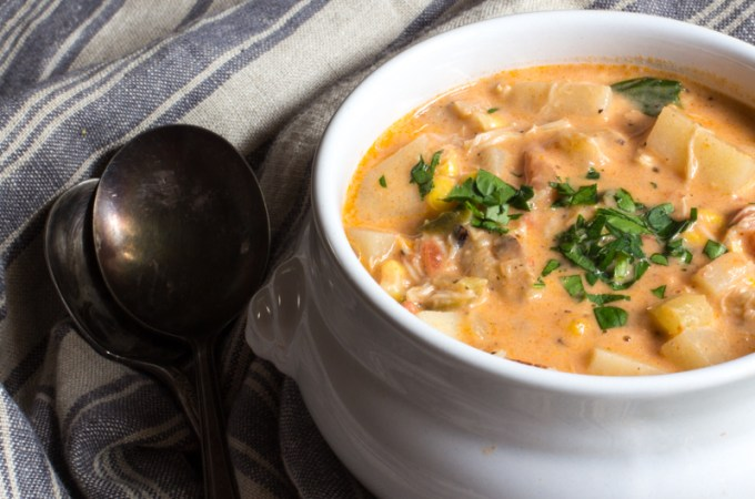Winter chowder loaded with lobster and crabmeat.