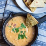 15-Minute Chile con Queso Dip with jalapeño, onion, garlic, cheddar and Jack cheeses, and salsa.