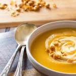 Healthy butternut squash soup with apple cider & crème fraîche.