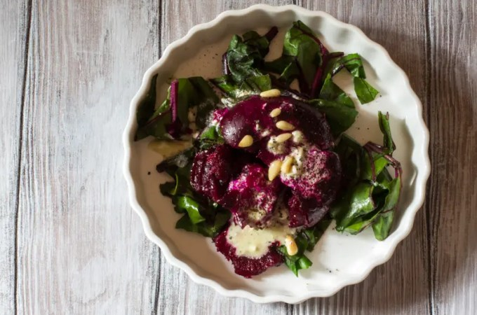 Smashed Roasted Beets with Goat Cheese Dressing + Menu Ideas for Next Week!