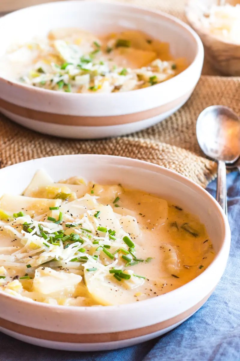 Comforting potato leek soup. Just like the one from your childhood.