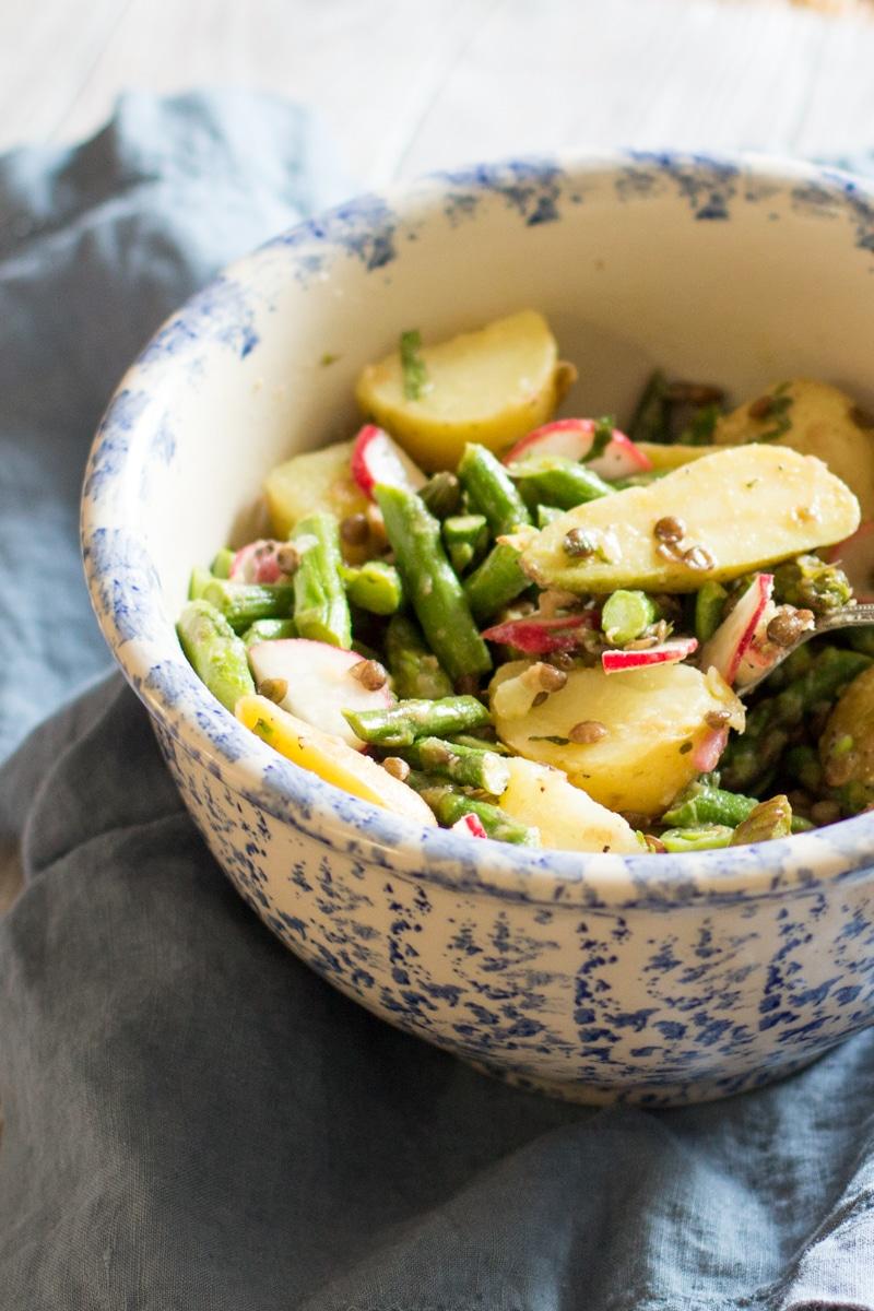 Asparagus and potato salad with lentils, mint and a lemon vinaigrette.