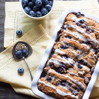 Scone bread layered with streusel and blueberries, and drizzled with lemon icing.