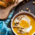 Vegan, roasted coconut curried butternut squash soup with apples.