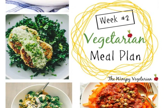 Weekly vegetarian meal plan with tips for omnivores at the table, including tips for meal planning, and prep ahead tips to make dinner easy this week. #EatingClean #HealthyVegetarian #VegetarianRecipes #VegetarianMealPlan #MealPlan #MealPlanning #thewimpyvegetarian #spaghettisquash #chickpeas #cauliflower #falafel