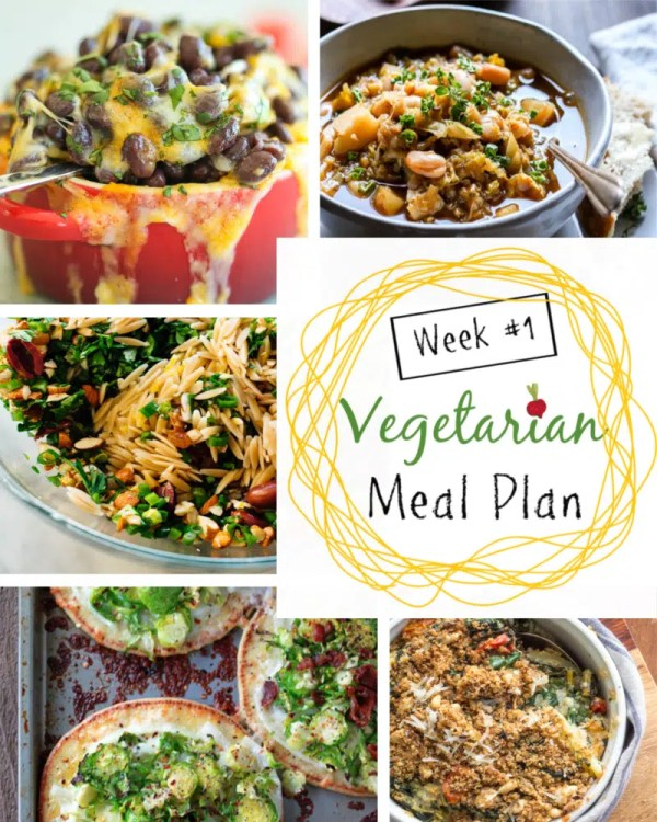Weekly vegetarian dinner meal plans with tips for adjusting the dishes for omnivores. Week 1 offers a Swiss Chard Gratin, a White Bean Cabbage Soup, a Winter Orange, Feta, Olive Salad, a Mexican night, and Brussels Sprouts Pizza. #EatingClean #HealthyVegetarian #VegetarianRecipes #VegetarianMealPlan