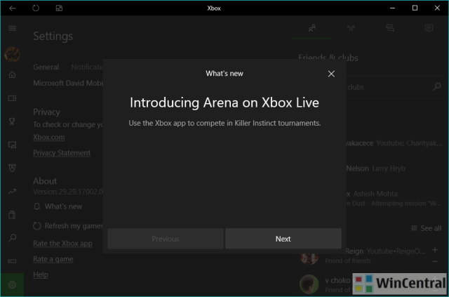 Xbox app Windows 10 version 29.29