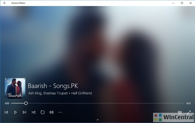 Groove Music App on Creators Update-New Fluent Design