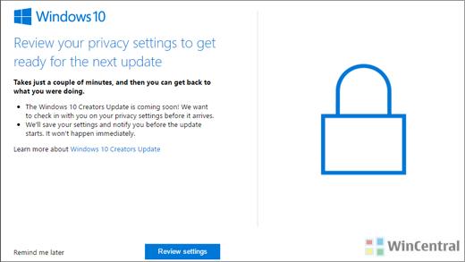 Windows privacy