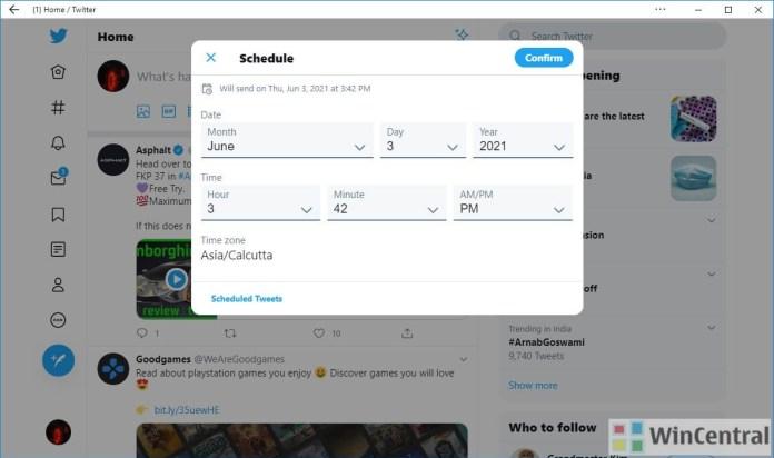 Twitter Tweet Schedule UI on Windows