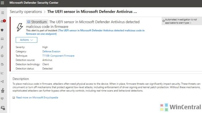Microsoft Defender ATP UEFI Scanner Alert