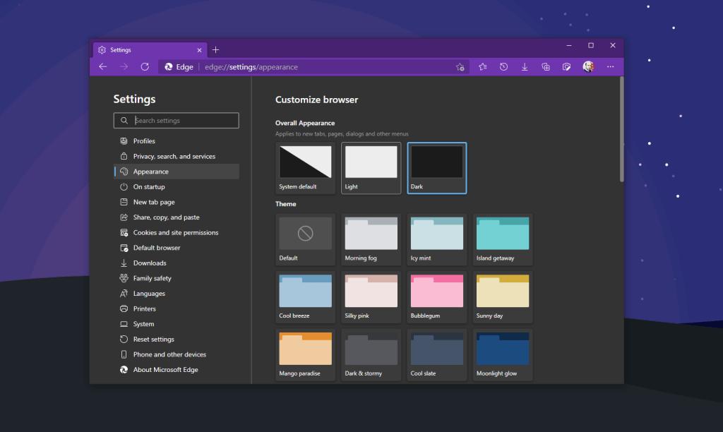 Microsoft Edge Themes Menu
