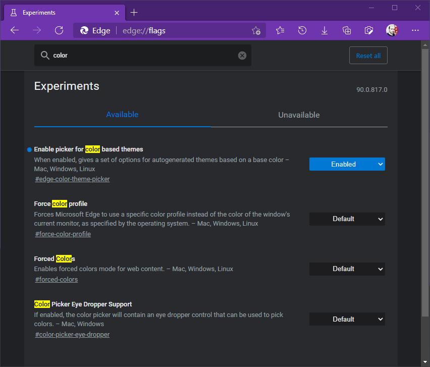 picker for color-based themes in Microsoft Edge