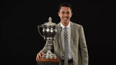 Johnny Gaudreau poses with the Lady Byng Trophy he won in 2017.