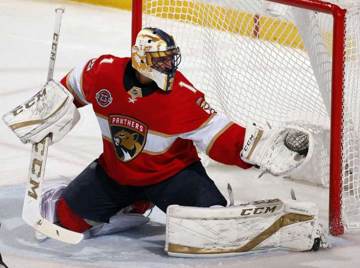 SUNRISE, FL - DECEMBER 4: Goaltender Roberto Luongo #1 of the Florida Panthers makes a glove save in their 5-0 shut out over the Boston Bruins at the BB&T Center on December 4, 2018 in Sunrise, Florida. (Photo by Eliot J. Schechter/NHLI via Getty Images)