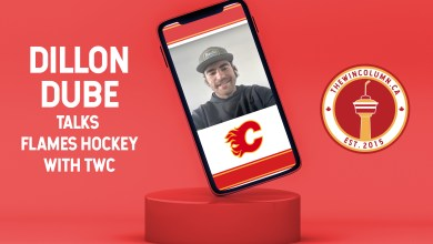 Dillon Dube (Calgary Flames) talks hockey with The Win Column (thewincolumn.ca) in an interview. Featured image depicts a mock up of Dube in a video call setting.